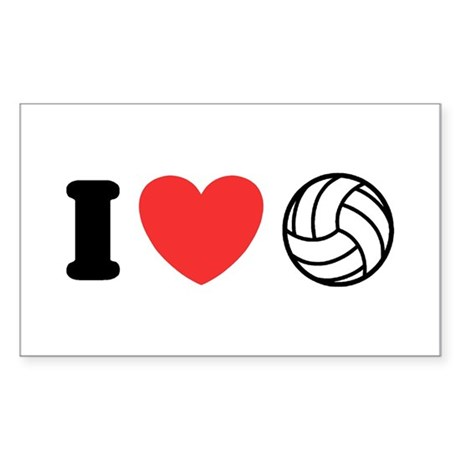 I Love Volleyball Rectangle Sticker