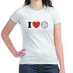 I Love Volleyball Jr. Ringer T-Shirt