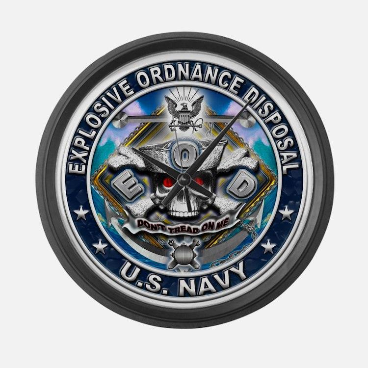USN Explosive Ordnance Dispos Large Wall Clock