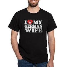 I Love My German Wife Black T-Shirt
