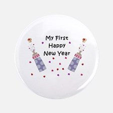 """Baby's First New Year 3.5"""" Button"""