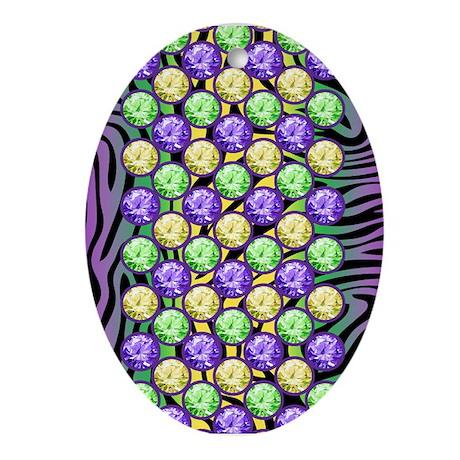 Mardi Gras Tiger Fleur de lis Ornament (Oval)