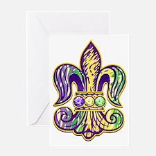 Mardi Gras Tiger Fleur de lis Greeting Card