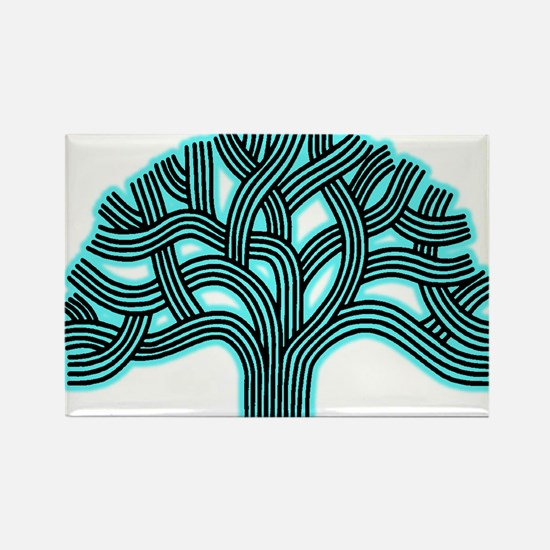 Oakland Tree Hazed Teal Rectangle Magnet