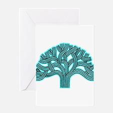 Oakland Tree Hazed Teal Greeting Card