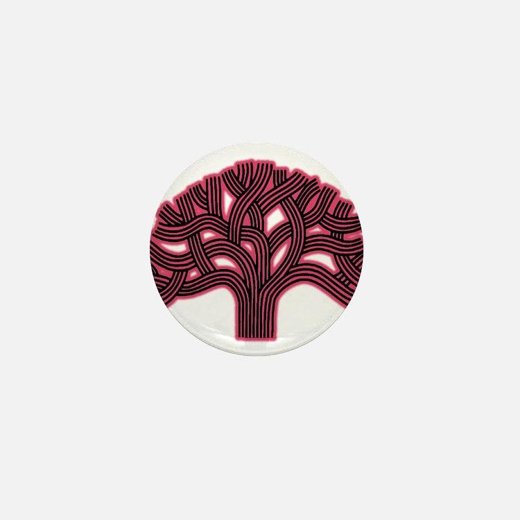 Oakland Tree Hazed Red Mini Button