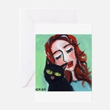Black Cat w Redhead Greeting Cards (Pk of 10)