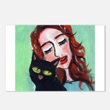 Black Cat w Redhead Postcards (Package of 8)