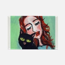 Black Cat w Redhead Rectangle Magnet