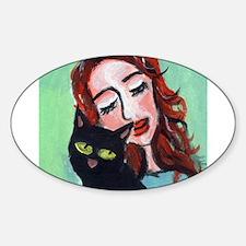 Black Cat w Redhead Oval Decal