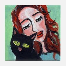 Black Cat w Redhead Tile Coaster