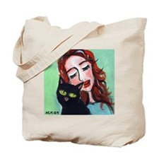 Black Cat w Redhead Tote Bag