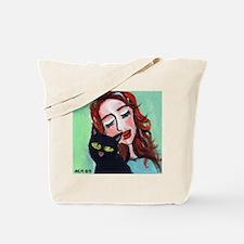 Black Cat w Redhead Tote Bag