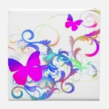 Bright Pink Butterfly Tile Coaster