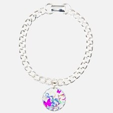 Bright Pink Butterfly Charm Bracelet, One Charm