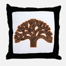 Oakland Tree Hazed Orange Throw Pillow