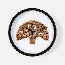 Oakland Tree Hazed Orange Wall Clock