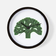 Oakland Tree Hazed Green Wall Clock