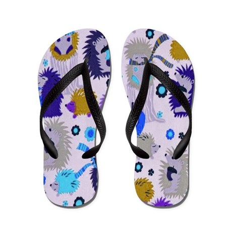 Hedgehog Meadow Flip Flops