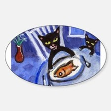 Black cat goldfish dinner Oval Decal