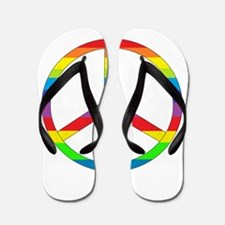 Peace Sign Rainbow Flip Flops