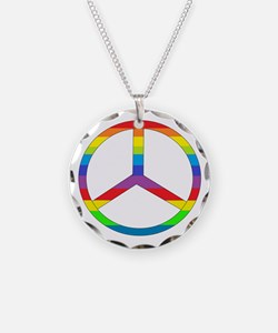 Peace Sign Rainbow Necklace Circle Charm