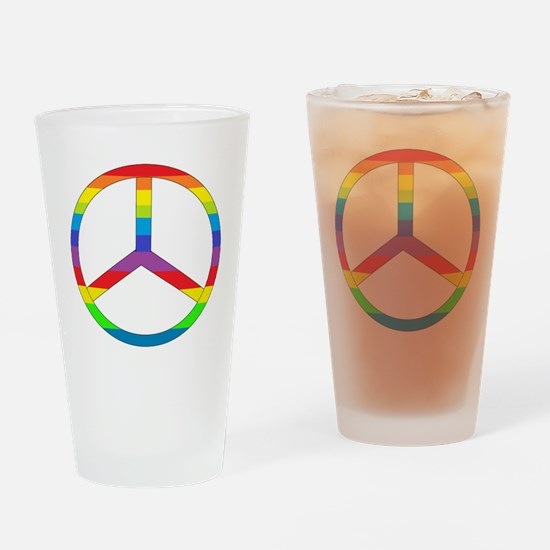 Peace Sign Rainbow Drinking Glass