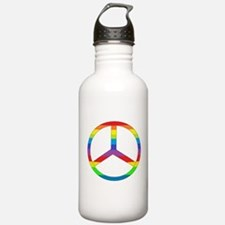Peace Sign Rainbow Sports Water Bottle