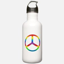Peace Sign Rainbow Water Bottle