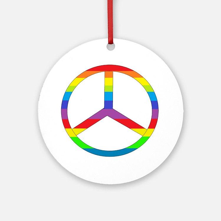 Peace Sign Rainbow Ornament (Round)