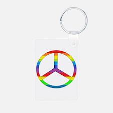 Peace Sign Rainbow Aluminum Photo Keychain