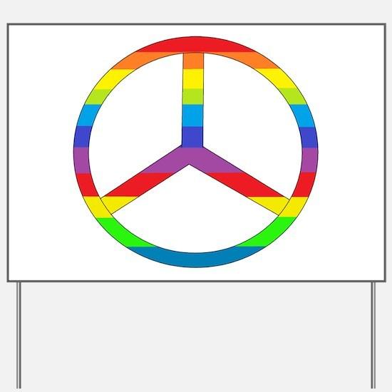 Peace Sign Rainbow Yard Sign