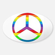 Peace Sign Rainbow Sticker (Oval)