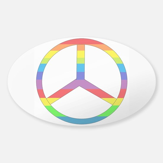 Peace Sign Rainbow Sticker (Oval)