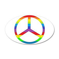Peace Sign Rainbow 22x14 Oval Wall Peel