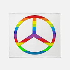 Peace Sign Rainbow Throw Blanket