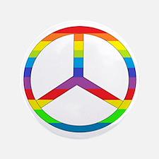 """Peace Sign Rainbow 3.5"""" Button"""