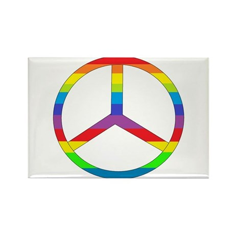 Peace Sign Rainbow Rectangle Magnet (100 pack)