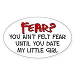 Date my Little Girl Oval Sticker