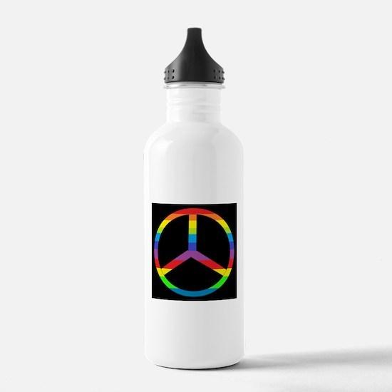 Peace Sign Rainbow Water Bottle