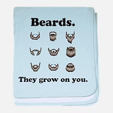 Beards - They Grow On You baby blanket