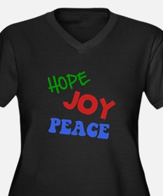 Hope Joy Peace Women's Plus Size V-Neck Dark T-Shi