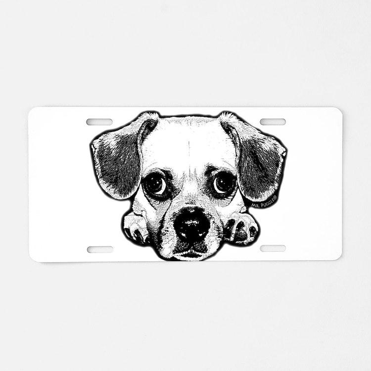 Black & White Puggle Aluminum License Plate