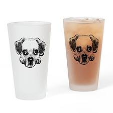 Black & White Puggle Drinking Glass