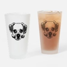 Black & White Puggle Drinking Glass