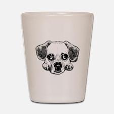 Black & White Puggle Shot Glass