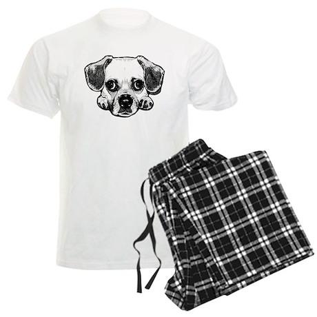 Black & White Puggle Men's Light Pajamas