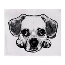 Black & White Puggle Throw Blanket