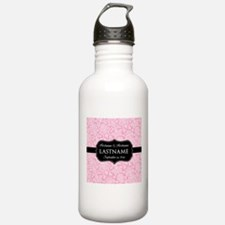 Pink Damask Wedding Favors Water Bottle