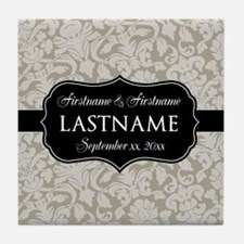 Wedding Favor - Taupe Damask Tile Coaster